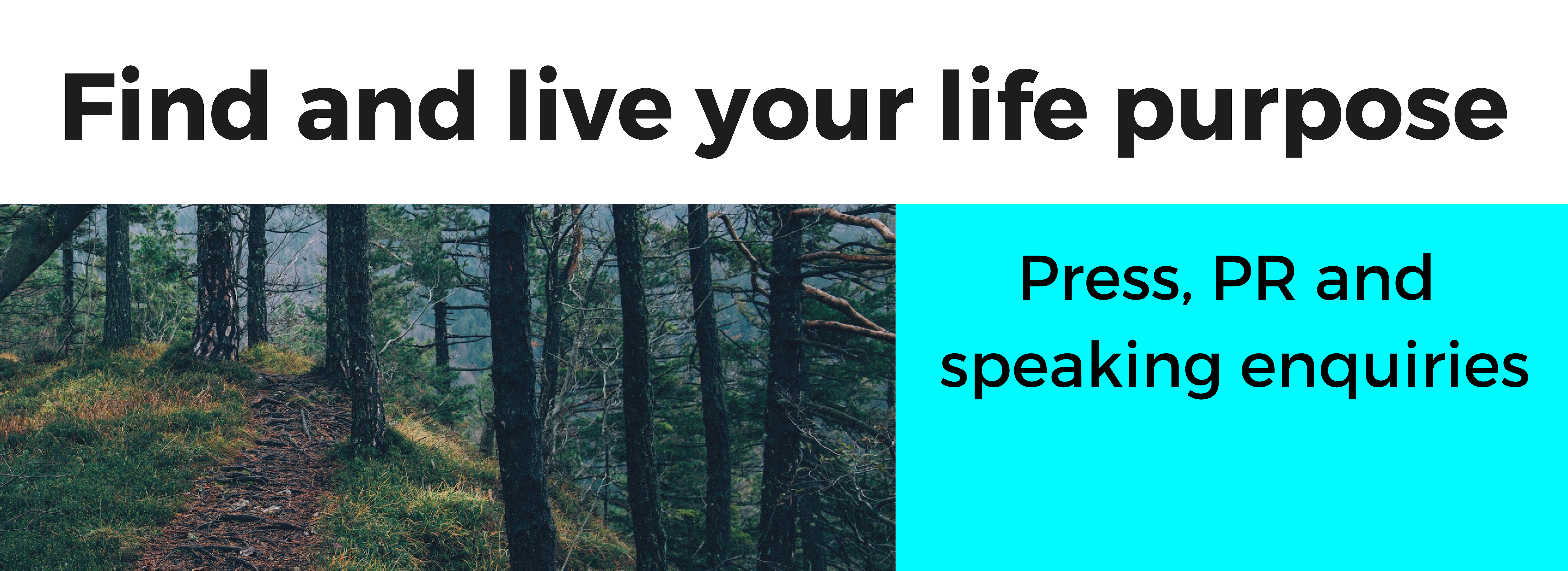 Find and live your life purpose PR banner